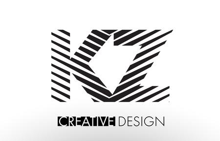 kz: KZ K Z Lines Letter Design with Creative Elegant Zebra Vector Illustration. Illustration