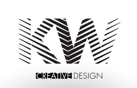 kw: K W Lines Letter Design with Creative Elegant Zebra Vector Illustration.