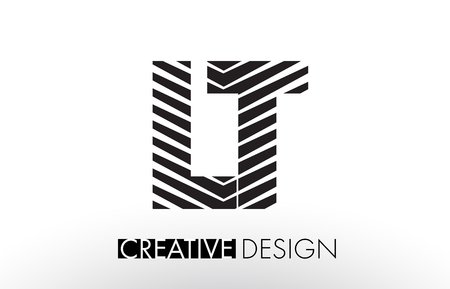 LT L T Lines Letter Design with Creative Elegant Zebra Vector Illustration. Illusztráció