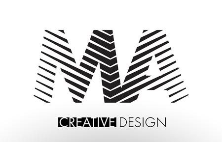 MA M A Lines Letter Design with Creative Elegant Zebra Vector Illustration.