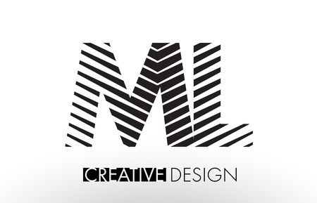 ml: ML M L Lines Letter Design with Creative Elegant Zebra Vector Illustration.