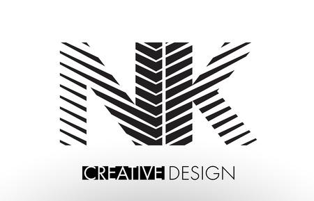 NK N K Lines Letter Design with Creative Elegant Zebra Vector Illustration.