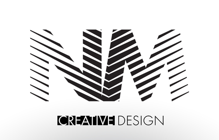 NM N M Lines Letter Design with Creative Elegant Zebra Vector Illustration. Illustration