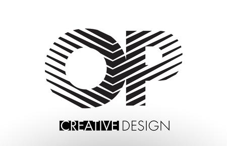 O P Lines Letter Design with Creative Elegant Zebra Vector Illustration. Banco de Imagens - 78413728