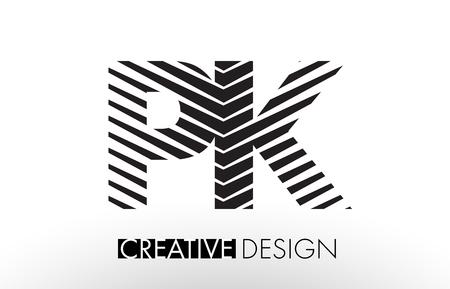 PK P K Lines Letter Design with Creative Elegant Zebra Vector Illustration.