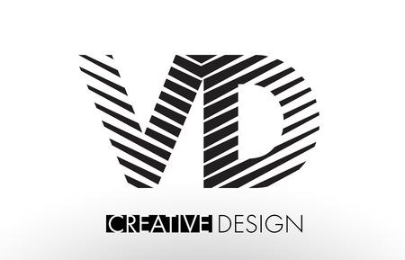 VD V D Lines Letter Design with Creative Elegant Zebra Vector Illustration.