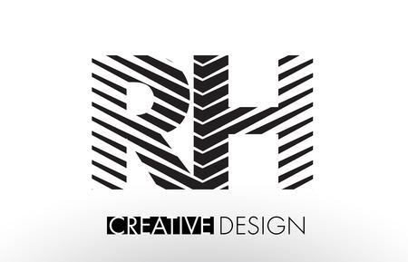 rh: RH R H Lines Letter Design with Creative Elegant Zebra Vector Illustration.