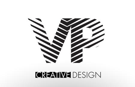 vp: VP V P Lines Letter Design with Creative Elegant Zebra Vector Illustration. Illustration