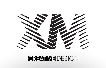 xm: XM X M Lines Letter Design with Creative Elegant Zebra Vector Illustration. Illustration