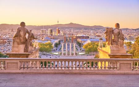 BARCELONA, SPAIN, PIAZZA DE ESPANYA - 28 MAY 2017. Busy city life on Piazza d, Espanya in Barcelona. View From the Nacional Palace.