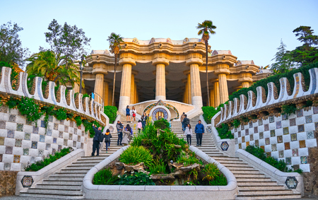 BARCELONA, PARK GUELL, SPAIN - MAY 1, 2017. Park guell Entrance with tourists visiting the famous architecture of Gaudi. Editorial