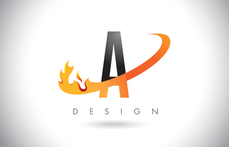 A Letter Logo Design with Fire Flames and Orange Swoosh Vector Illustration.