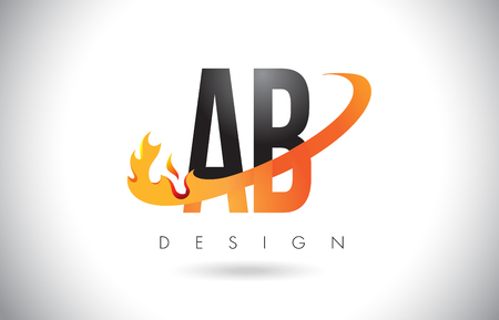 AB A B Letter Logo Design with Fire Flames and Orange Swoosh Vector Illustration.