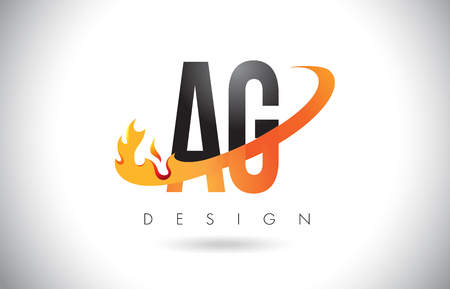 AG A G Letter Logo Design with Fire Flames and Orange Swoosh Vector Illustration. Illustration