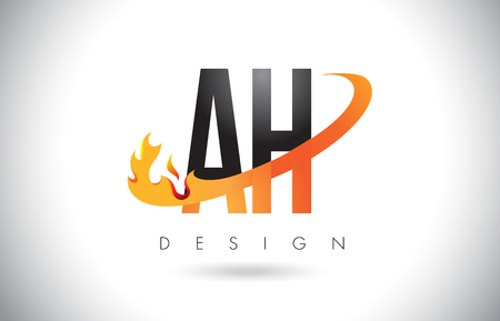 AH A H Letter Logo Design with Fire Flames and Orange Swoosh Vector Illustration.