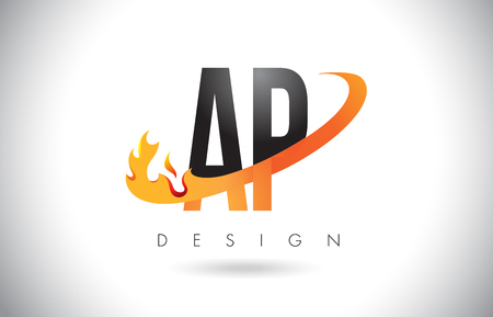 ap: AP A P Letter Logo Design with Fire Flames and Orange Swoosh Vector Illustration.