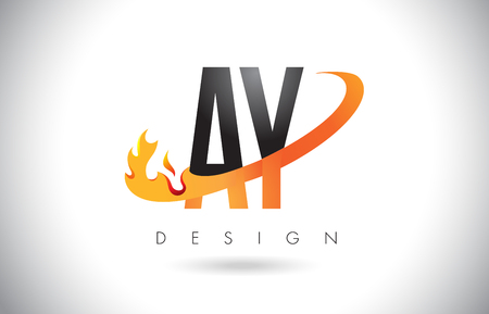 AY A Y Letter Logo Design with Fire Flames and Orange Swoosh Vector Illustration.