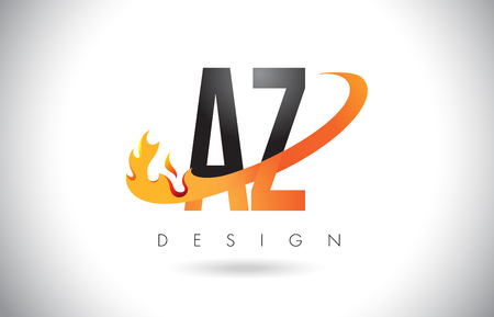 AZ A Z Letter Logo Design with Fire Flames and Orange Swoosh Vector Illustration.