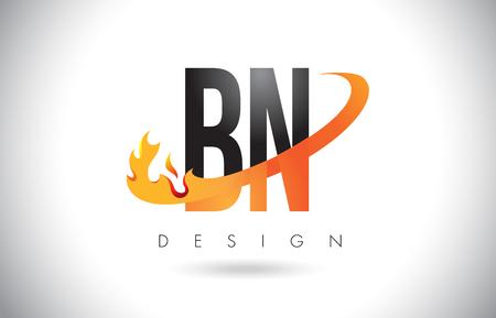 BN B N Letter Logo Design with Fire Flames and Orange Swoosh Vector Illustration.