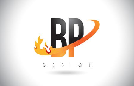 BP B P Letter Logo Design with Fire Flames and Orange Swoosh Vector Illustration. Illustration