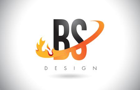 BS B S Letter Logo Design with Fire Flames and Orange Swoosh Vector Illustration. Illustration