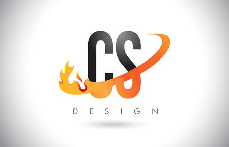 CS C S Letter Logo Design with Fire Flames and Orange Swoosh Vector Illustration. Logó