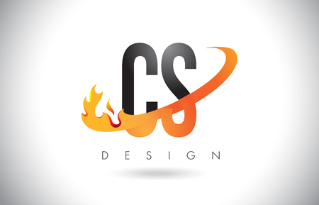 cs: CS C S Letter Logo Design with Fire Flames and Orange Swoosh Vector Illustration.