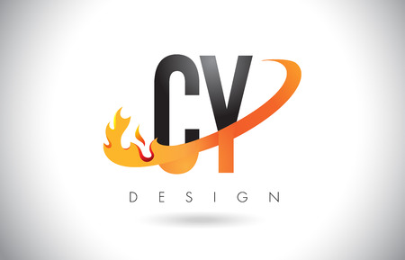 CY C Y Letter Logo Design with Fire Flames and Orange Swoosh Vector Illustration. Illustration