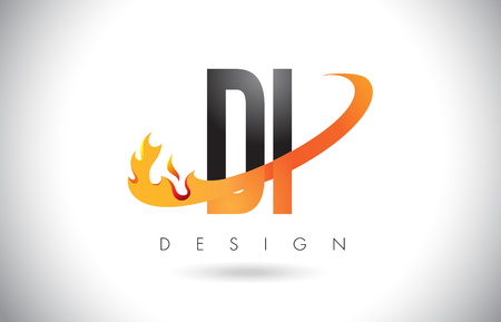 DI D I Letter Logo Design with Fire Flames and Orange Swoosh Vector Illustration.