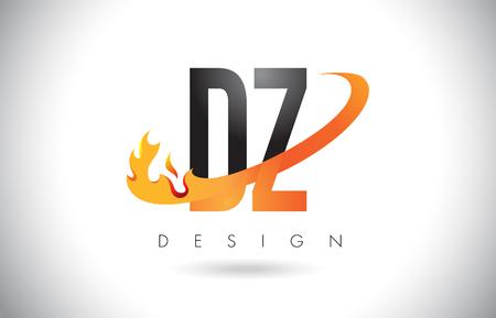 DZ D Z Letter Logo Design with Fire Flames and Orange Swoosh Vector Illustration. Illustration