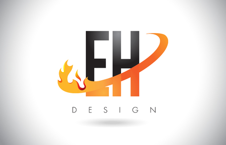 EH E H Letter Logo Design with Fire Flames and Orange Swoosh Vector Illustration.