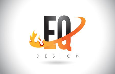 EQ E Q Letter Logo Design with Fire Flames and Orange Swoosh Vector Illustration.