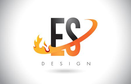 e business: ES E S Letter Logo Design with Fire Flames and Orange Swoosh Vector Illustration. Illustration