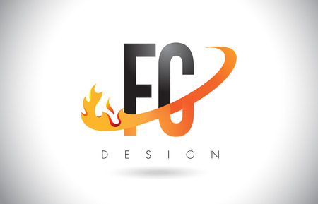 FC F C Letter Logo Design with Fire Flames and Orange Swoosh Vector Illustration.