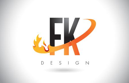 FK F K Letter Logo Design with Fire Flames and Orange Swoosh Vector Illustration. Logó