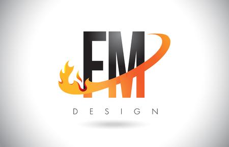 FM F M Letter Logo Design with Fire Flames and Orange Swoosh Vector Illustration.