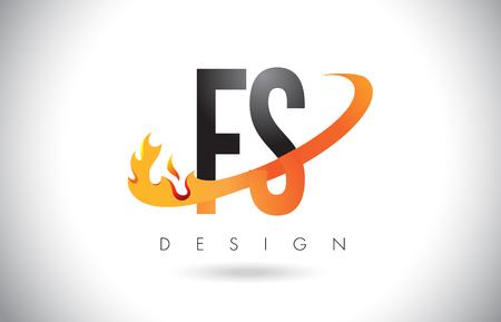 FS F S Letter Logo Design with Fire Flames and Orange Swoosh Vector Illustration.