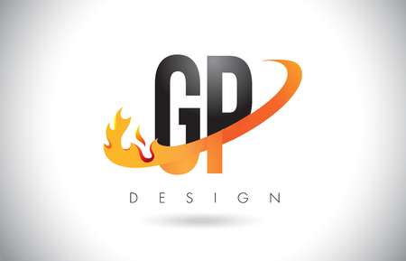 GP G P Letter Logo Design with Fire Flames and Orange Swoosh Vector Illustration.