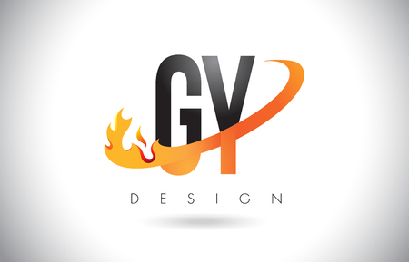 GY G Y Letter Logo Design with Fire Flames and Orange Swoosh Vector Illustration.