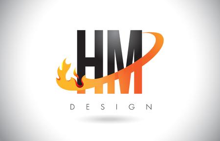 HM H M Letter Logo Design with Fire Flames and Orange Swoosh Vector Illustration. Illustration