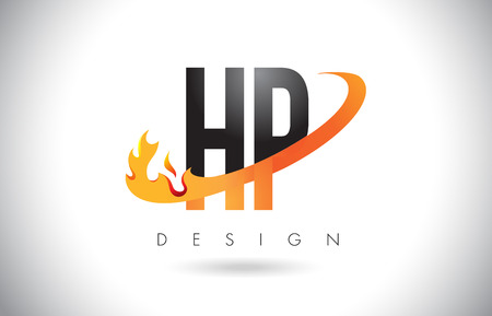 HP H P Letter Logo Design with Fire Flames and Orange Swoosh Vector Illustration.