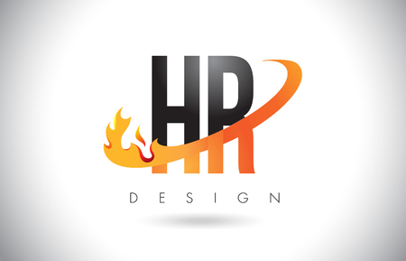 HR H R Letter Logo Design with Fire Flames and Orange Swoosh Vector Illustration.
