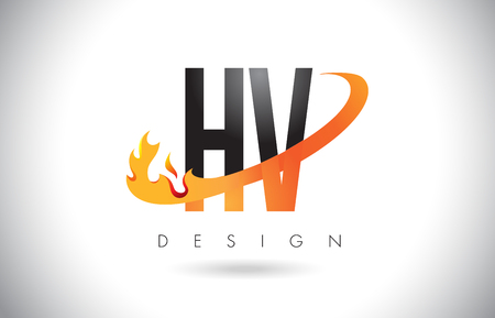 HV H V Letter Logo Design with Fire Flames and Orange Swoosh Vector Illustration.