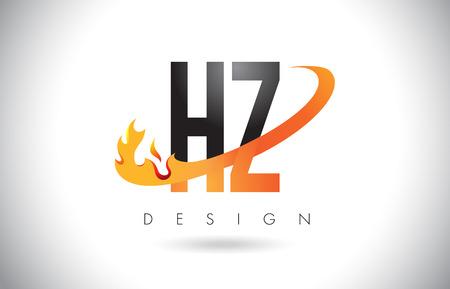 HZ H Z Letter Logo Design with Fire Flames and Orange Swoosh Vector Illustration.
