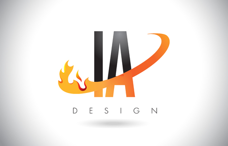 IA I A Letter Logo Design with Fire Flames and Orange Swoosh Vector Illustration.