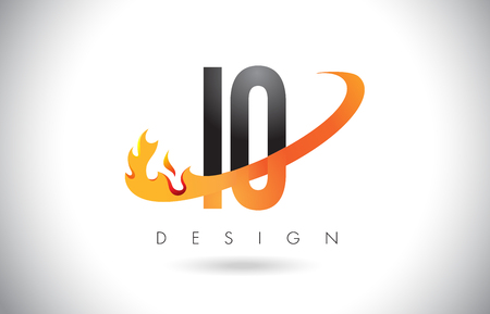 IO I O Letter Logo Design with Fire Flames and Orange Swoosh Vector Illustration.