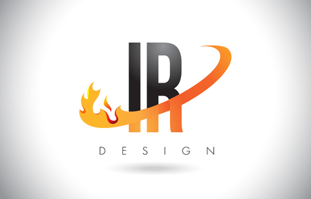 IR I R Letter Logo Design with Fire Flames and Orange Swoosh Vector Illustration. Illusztráció