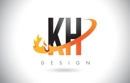 KH K H Letter Logo Design with Fire Flames and Orange Swoosh Vector Illustration.