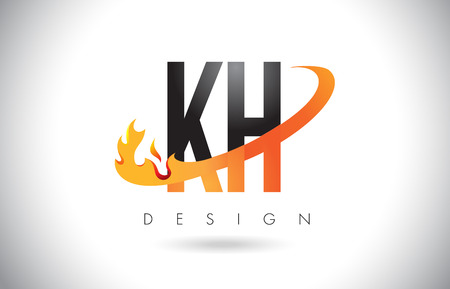 KH K H Letter Logo Design with Fire Flames and Orange Swoosh Vector Illustration.