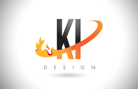 KI K I Letter Logo Design with Fire Flames and Orange Swoosh Vector Illustration. Illustration